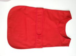 Apron fastened at the front (small 2-3 years old) in a set with 12 gloves - red